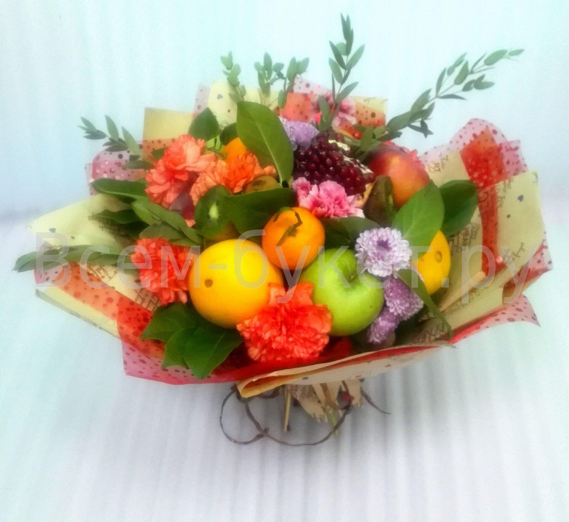 Букеты с фруктами и цветами фото как сделать 934